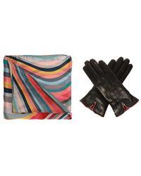 Paul Smith Shawl & Leather Gloves Set - Zwart