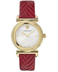 Versace V-motif Leather Watch - Geel