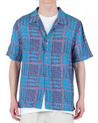 Stussy Hand Drawn Houndstooth Shirt - Blauw
