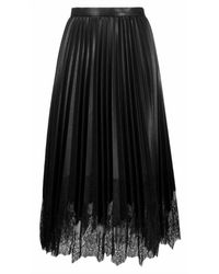 Ermanno Scervino Pleated skirt with lace - Noir