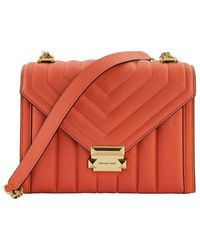 Michael Kors Large Convertible Whitney Shoulder Bag In Quilted Leather - Oranje