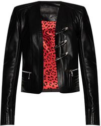 Philipp Plein Leather Jacket - Zwart