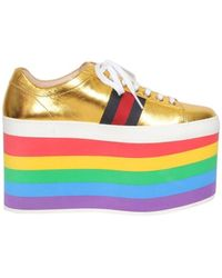 Gucci Gold Platform Sneakers - Geel