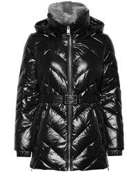 Michael Kors Faux fur trim belted basket jacket - Negro