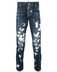 DSquared² Sexy Twist Bleach Splash Cool Guy Jeans - Blauw