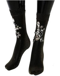Dolce & Gabbana Chaussettes en cristal clair à fleurs - Noir