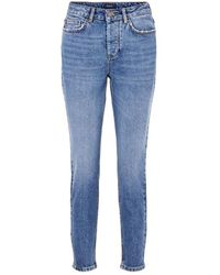 Pieces Short Mid-Rise Jeans Azul