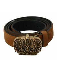 Dolce & Gabbana Leather Gold Crown Buckle Belt - Braun