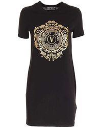 Versace Jeans Couture Abito corto girocollo a costine - Noir