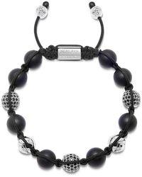 Nialaya Heren Kralen Armband Met Matte Onyx En Silver - Zwart