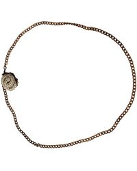 Ermanno Scervino Steel Chain Branded Charm Brushed Necklace - Giallo