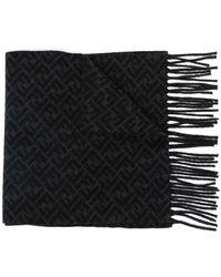 Fendi Ff-motif Knitted Scarf - Zwart