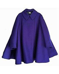 Alaïa Felted Wool Babydoll Cape Coat - Blauw