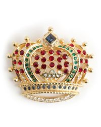 Kenneth Jay Lane Vintage Broche couronne royale - Rouge