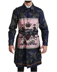Dolce & Gabbana Veste trench-coat royal crown - Bleu