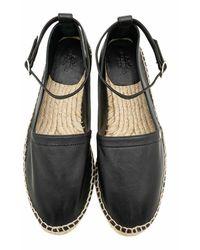 Hermès Espadrillas in pelle con accenti borchiati usati - Nero