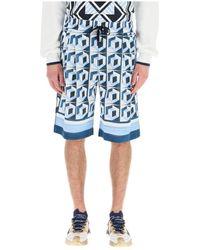 Dolce & Gabbana Short Met Majolica-print - Blauw