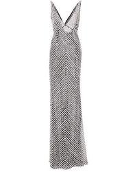 Naeem Khan Beaded Sequin V Neck Gown - Gris