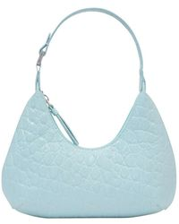 BY FAR Baby Amber Bag in Croco Embossed Leather - Blau