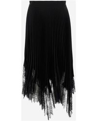 Zoe Skirt With Lace Trim In Crepe - Zwart