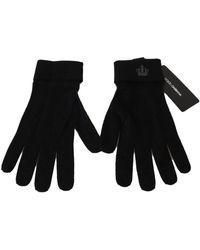 Dolce & Gabbana Knitted Crown Logo Gloves - Zwart