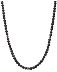 Nialaya Men's Beaded Necklace With Matte Onyx And Silver - Zwart