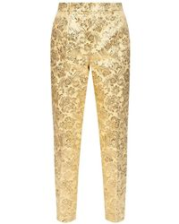 Dolce & Gabbana Patterned pleat-front trousers - Giallo