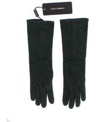 Dolce & Gabbana Suede Elbow Button Handschoenen - Groen