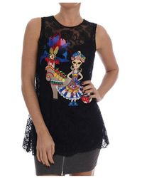 Dolce & Gabbana Sicily Embroidered Lace Blouse - Noir