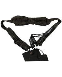 Dolce & Gabbana Patterned Mens Stropdas Papillon Bow Tie - Zwart