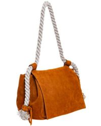 Elena Ghisellini Soft Suede Bag With Rope Handles And Flap - Bruin