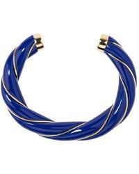 Aurelie Bidermann Diana resin and gold plated twisted bangle bracelet - Bleu