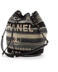 Chanel Vintage Deauville Drawstring Bucket Bag - Nero