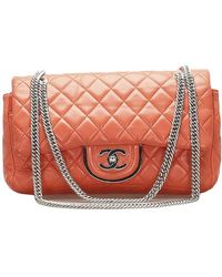 Chanel Turnlock Classic Timeless Double Flap Bag - Oranje