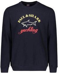 Paul & Shark Sweatshirt Met Logo In Drie Kleuren - Blauw