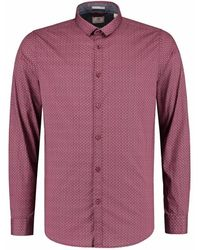 Dstrezzed Shirt Small Collar Minimal Dot Red Shirt Lm Casual - Rood