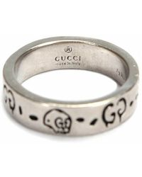 Gucci Anello fantasma GG in argento sterling usato - Grigio