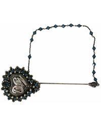 Dolce & Gabbana Brass Heart Beaded Logo Crystal Lapel Pin - Grau
