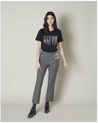 Silvian Heach T-shirt con frange strass Negro