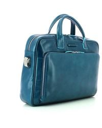 Piquadro Two handles leather briefcase Azul