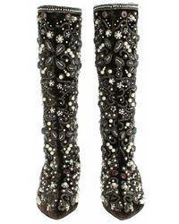 Dolce & Gabbana Velvet Silver Baroque Crystal Boots Marrón
