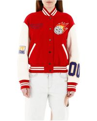 Off-White c/o Virgil Abloh Varsity Bomber Jacket With Patches - Rood