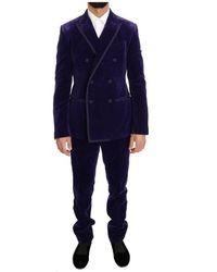 Dolce & Gabbana Velvet Slim Fit Double Breasted Suit - Blauw