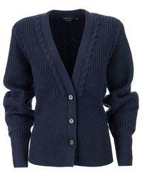 Ralph Lauren Ribbed Cardigan - Bleu