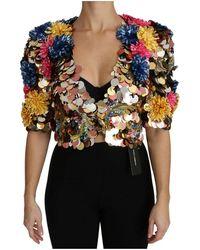 Dolce & Gabbana Crystal Sequined Floral Jacket Coat - Geel