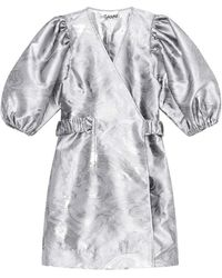 Ganni F5933 Shiny Jacquard Wrap Dress - Grijs