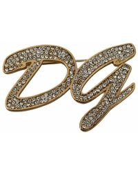 Dolce & Gabbana Plated Brass Crystal DG Logo Brooch - Giallo