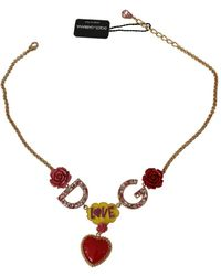 Dolce & Gabbana Chain Crystal Heart Roses Statement Necklace - Rouge