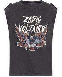 Zadig & Voltaire T-shirt With Epaulettes - Grijs