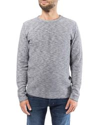Knowledge Cotton Apparel Double Layer Striped Sweatshirt - Grijs